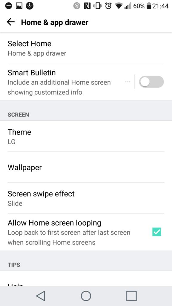 Home Screen Settings LG G5