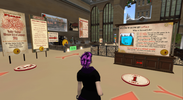 Caledon teleport point, with lots of helpful signs. Second Life.