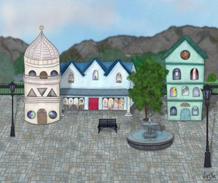 digital art vs analogue art painting street scene buildings architecture krita ink watercolour