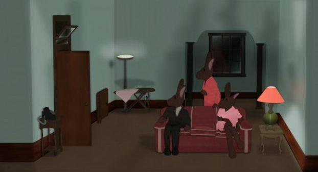analogue art vs digital art photoshop gaming mouse david lynch rabbits room spooky haunting mystery