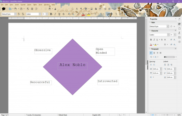 character diamond office word processing creating characters personalitydesktop screen shot
