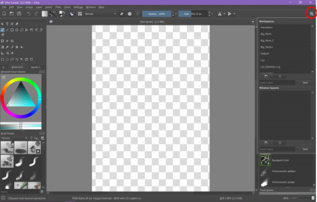 apps, art, beginners, configuration, configure, desktop, digital art, guide, how to, krita, open source, photoshop, programs, raster, raster art, raster editor, set up, technology, tutorial, tutorials, windows 10, workspace, reset, save, personalise, switch, adjust,