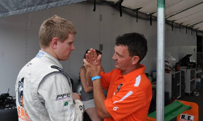Tommy Byrne demonstrates exactly which hands this young man will be getting if he doesn't step his game up on the track.