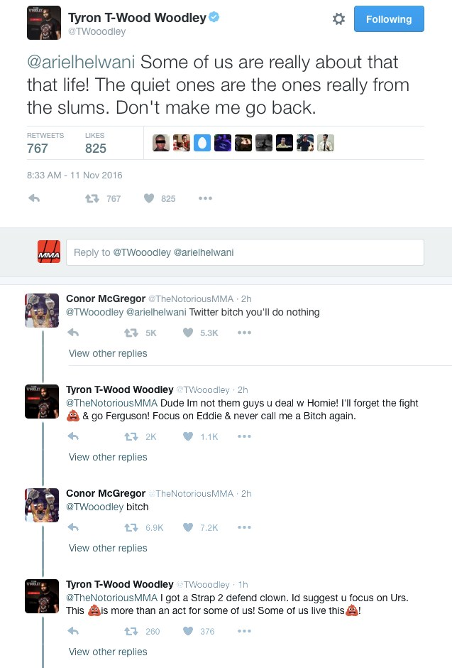 tyron-woodley-conor-mcgregor-twitter-exchange-ufc-205