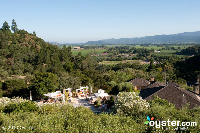 The view of Auberge du Soleil and the surrounding vineyards