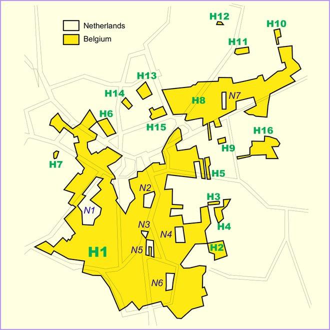 A map of Baarle-Hertog/Baarle-Nassau. Courtesy of Wikimedia/Tos