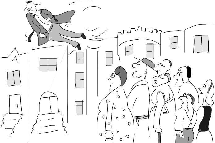 A Hasidic superman flying over the crowd