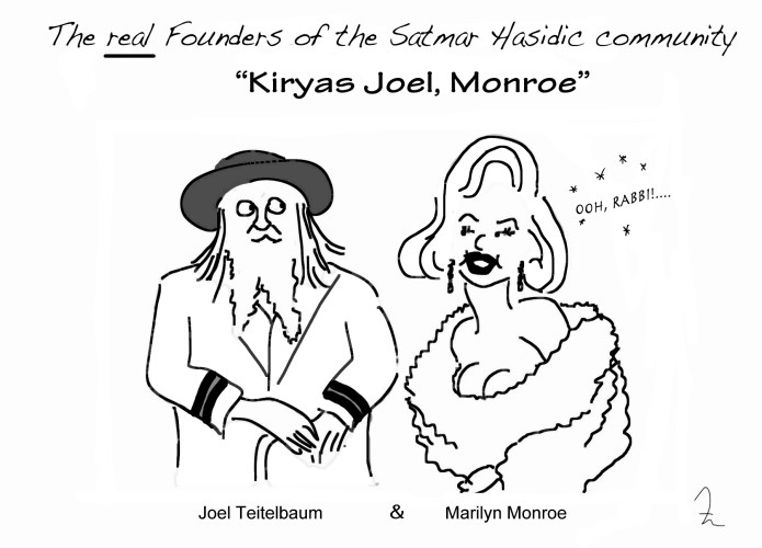 Rabbi Teitelbuam and Marilyn Monroe as founders of Kiryas Joel, Monroe