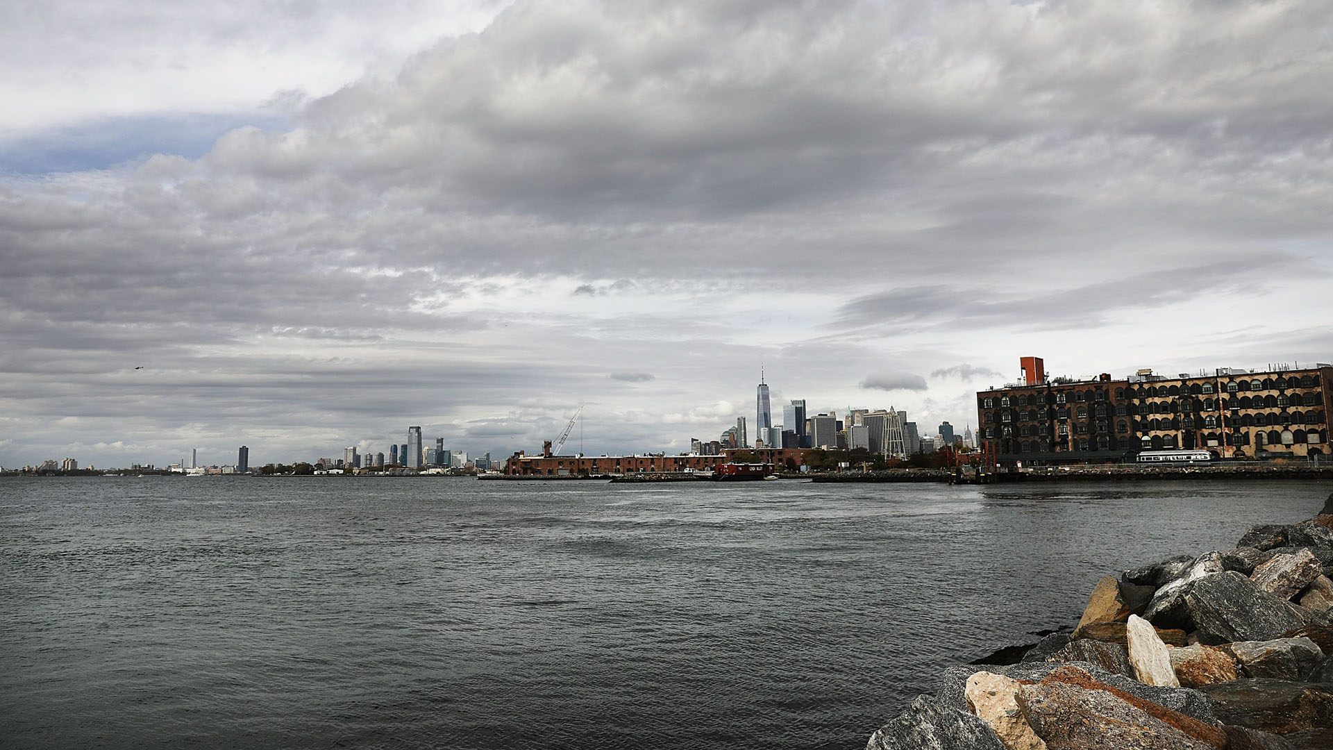 Manhattan view from Red Hook, Brooklyn, New York, Superstorm Sandy scars 5 years later80695744-159532
