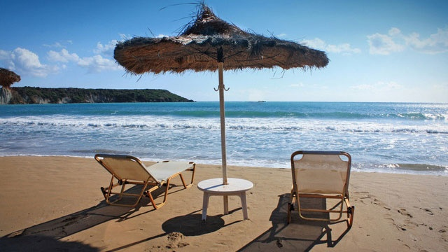 Chairs on beach with umbrella, vacation_861682057374078-159532