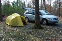 Mutha Hubba Tent and Chysler Town and Country Minivan at the Berryman Trail campground, Missouri