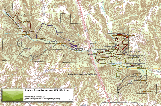 Trail map of Busiek State Forest, Missouri