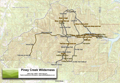 Topographic map of the Piney Creek Wilderness, Missouri