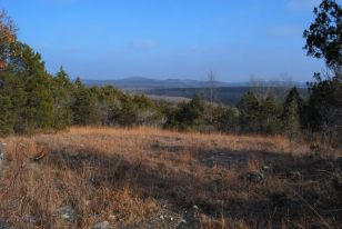 A photgraph of the view from Coy Bald looking over toward Lower Pilot Knob in the distance