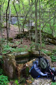 Picture showing the springbox at Siloam Spring, Piney Creek Wilderness, Missouri