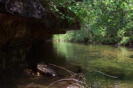 Rock shelf by creek crossing on Long Creek Hercules Glades