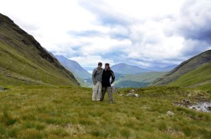 Gary and Ginger at the saddle of Lairig Gartain, Glencoe, Scotland