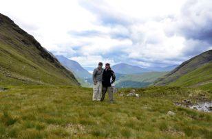 Gary and Ginger at the saddle of Lairig Gartain, Glencoe, Scotland