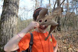 Lanie finds a tree bark mask - Piney Creek Wilderness, Missouri