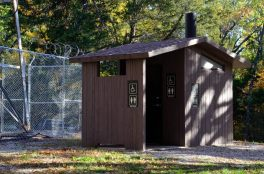 These modern pre-cast concrete vault toilets are very good. This one is at the Tower Trailhead.