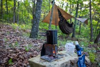 Heating water for Breakfast - I'm really enjoying my little wood burning stove. Piney Creek - Day Two. Copyright © 2020 Gary Allman, all rights reserved.