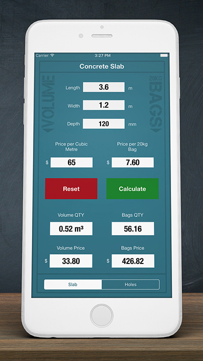 concrete calculator metric iphone app