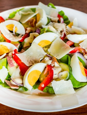 Bacon and egg salad in a bowl.