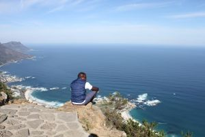 Deep thinking at the top of Table Mountain in Cape Town, SA