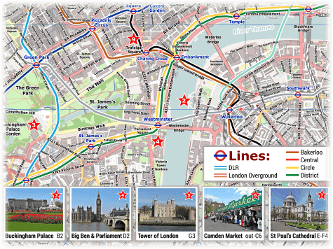 London PDF Maps with Attractions   Tube Stations London Tube Map with Attractions