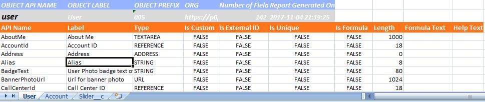 Free from Salesforce AppExchange : FieldDump - Extract Data