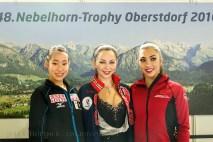 Podium Short Damen-1. TUKTAMYSHEVA , 2 MIHARA, 3. DALEMAN