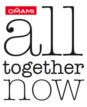 "Logotype and its application for ""All together now"" product-line by Omami