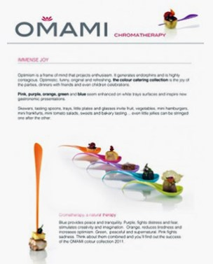 Online newsletters for Omami, a catering company