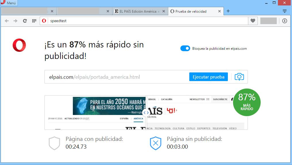 El sistema de bloqueo de publicidad integrado por defecto en el navegador Ópera es capaz de acelerar la carga de El País en un 87%.