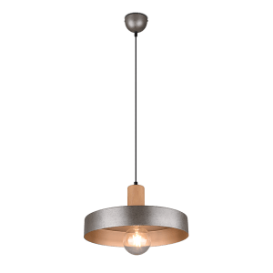 Suspension Bois & Metale Nickel Antique E27 sans ampoule(s)