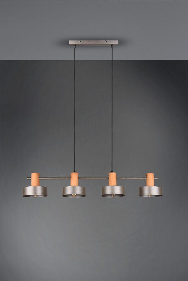 Suspension Bois & Metale Nickel Antique E27 sans ampoule(s)