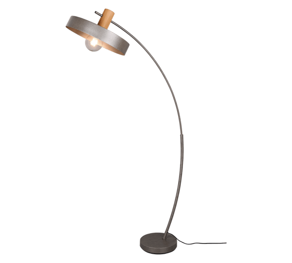 Lampadaire Bois & Metale Nickel Antique E27 sans ampoule(s)