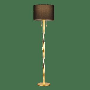 Lampadaire Design metale & tissu, Or, SMD LED, 7W · 2x 600lm, 3000K, sans ampoule