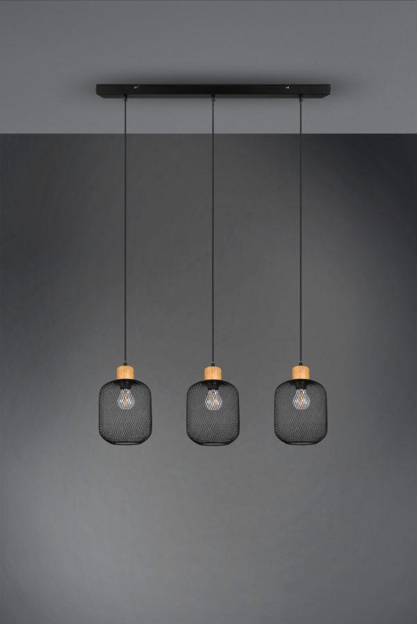 Suspension triple bois & metale Noir Mat, Vintage, sans ampoule(s)