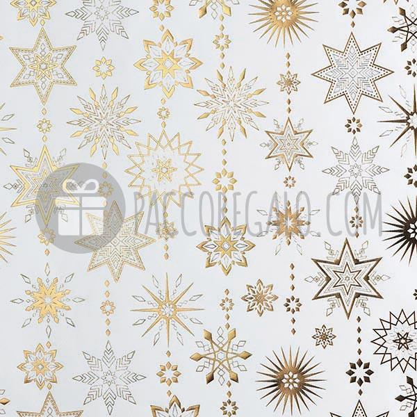 Rotolo Di Carta Regalo Fiocchi Di Neve Stampata A Rilievo In Oro A Caldo Su Bianco Mt 15