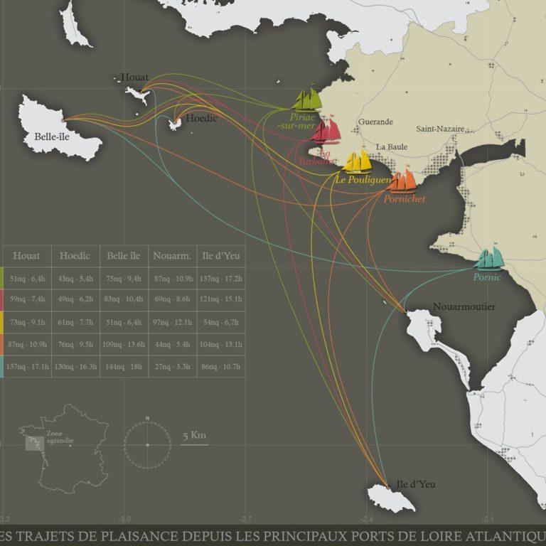 Carte des flux de plaisanciers entre les ports de Loire Atlantique et les îles voisines - Guillaume Sciaux - Cartographe professionnel