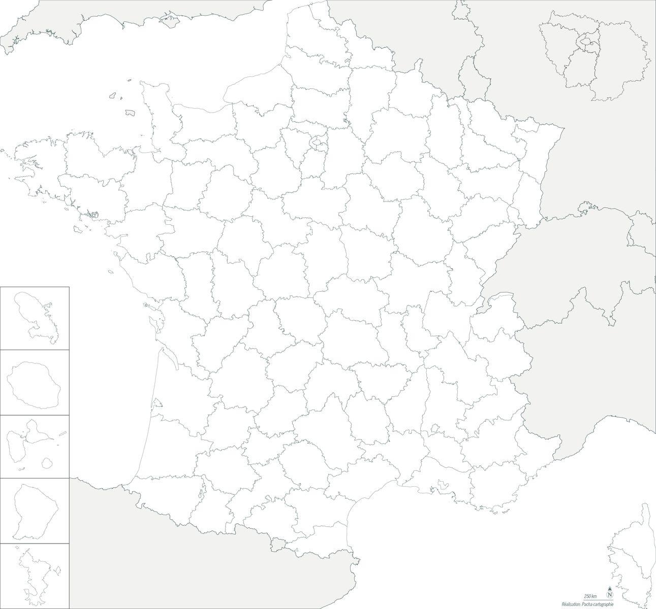 Fond de carte France - Régions et départements - Guillaume Sciaux - Cartographe professionnel