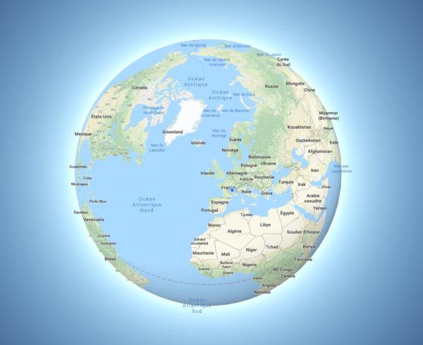Google terre plate - Globe 3D - Guillaume Sciaux - Cartographe professionnel