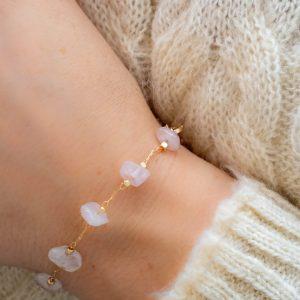 Bracelet pierres quartz rose