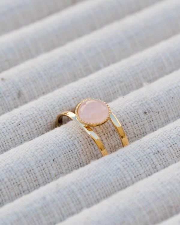 Bague pierre quartz rose