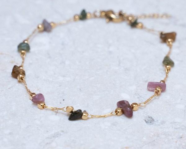Bracelet fin doré pierres tourmalines