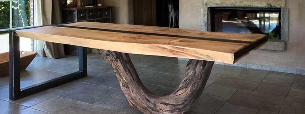 table bureau design teck massif