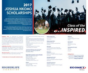 Joshua Nkomo Scholarship 2017 @ Higherlife Foundation