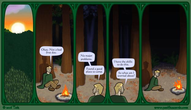 Gavin makes camp.