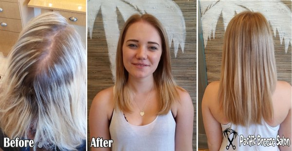 Stylist Kaity Kennaley takes dark roots and bleach blonde hair to a warm, natural caramel.